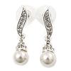 Prom Diamante Simulated Pearl Drop Earrings In Rhodium Plating - 3.5cm Length