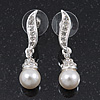 Prom Diamante Simulated Pearl Drop Earrings In Rhodium Plating - 3.5cm Length