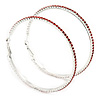 Oversized Slim Red Crystal Hoop Earrings In Rhodium Plating - 7cm Diameter