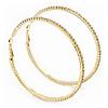 Large Slim Austrian Crystal Hoop Earrings In Gold Plating - 7cm D