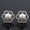 Clear Diamante Simulated Pearl 'Flower' Stud Earrings In Rhodium Plating - 2cm Diameter