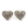 Small Crystal 'Heart' Stud Earrings In Rhodium Plating - 13mm Diameter