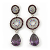 Purple Swarovski Crystal and CZ Teardrop Chandelier Earrings In Rhodium Plating - 60mm Length