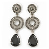 Grey Swarovski Crystal and CZ Teardrop Chandelier Earrings In Silver Plating - 60mm Length