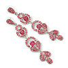 Long Luxury Pink  Crystal Drop Earrings In Rhodium Plating - Length 9cm