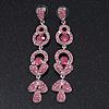 Long Luxury Pink  Crystal Drop Earrings In Rhodium Plating - Length 9cm