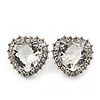 Clear CZ Crystal 'Heart' Stud Earrings In Rhodium Plating - 20mm Length