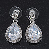 Bridal Clear Glass Crystal Teardrop Earrings In Rhodium Plating - 27mm Length