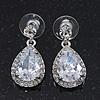 Bridal Clear Glass Crystal Teardrop Earrings In Rhodium Plating - 27mm Length