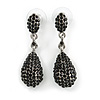 Jet Black Pave Set Swarovski Crystal Teardrop Earrings In Rhodium Plating - 4cm Length