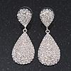 Bridal Pave-Set Clear Crystal Teardrop Earrings In Rhodium Plating - 5cm Length