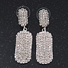 Bridal Pave-Set Clear Crystal Oval Drop Earrings In Rhodium Plating - 5cm Length