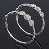 Rhodium Plated Clear Crystal 'Flower' Hoop Earrings - 5cm Diameter