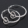 Rhodium Plated Clear Crystal 'Heart' Hoop Earrings - 5cm Diameter