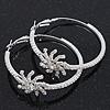 Rhodium Plated Clear Crystal 'Star' Hoop Earrings - 5cm Diameter