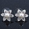 Teen Small Crystal, Simulated Pearl 'Flower' Stud Earrings In Rhodium Plating - 17mm Diameter