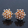 Small Crystal 'Spiky' Stud Earrings In Gold Plating - 14mm Diameter