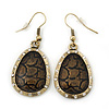 Vintage 'Cracked Effect' Diamante Teardrop Earrings In Burn Gold - 4.5cm Length
