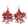 Boho Red Glass Bead Drop Earrings In Silver Plating - 7cm Length