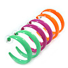 Three Pairs Neon Green, Neon Pink, Neon Orange Hoop Earring Set - 4cm Width