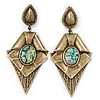 Large Vintage Style Diamond Shaped Drop Earrings In Burn Gold Metal - 9.5cm Length