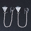 Two Piece Triangular Stud & Chain Ear Cuff In Silver Plating