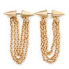 Faux Flesh Tunnel Spikes With Dangle Chains (Gold Plated) - 6cm Drop