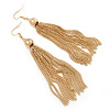 Long Chain Tassel Earrings In Gold Plating - 11cm Length