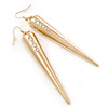 Oversized Crystal Spike Drop Earrings In Gold Plating - 10cm Length