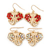 Gold Plated AB & Red Crystal Elephant Earrings - 2 Pc Set - 33mm Length
