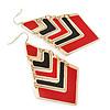 Black&Red Enamel Geometric Drop Earrings In Gold Plating - 8.5cm Drop