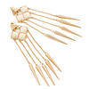 Long Milky White Acrylic Bead Spike Dangle Earrings In Gold Plating - 12cm Length