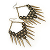 Oversized Vintage Spike Hammered Drop Earrings In Bronze Tone - 10cm Length
