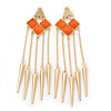 Long Orange Acrylic Bead Spike Dangle Earrings In Gold Plating - 12cm Length