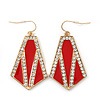 Crystal, Red Enamel Geometric Drop Earrings In Gold Plating - 5cm Length