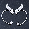 One Pair Wing & Star Ear Hook Cuff Earring In Silver Plating