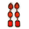 Red Acrylic Bead Linear Drop Earrings In Bronze Metal - 65mm Length
