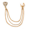 One Piece Clear Crystal, Pearl Triangular Stud & Chain Ear Cuff In Gold Plating