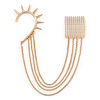 1 Piece Spike Ear Cuff With Comb In Gold Plating