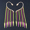 One Pair Dangle Neon PInk/ Neon Yellow Spike Hook Cuff Earring In Gold Plating - 6.5cm Length