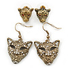 Bronze Tone Crystal 'Tiger' Earrings - 2 Pc Set - 42mm/ 14mm Length