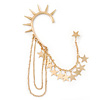 One Piece Gold Plated Spike & Star Chain Hook Cuff Earring - 8cm (chain drop)