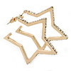 Open Diamante 'Star' Hoop Earrings In Gold Plating - 5cm Width