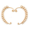 One Pair Simulated Pearl Bead Ear Hook Cuff Earring In Gold Plating