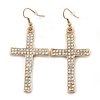 Pave-Set AB Crystal 'Cross' Drop Earrings In Gold Plating - 63mm Length