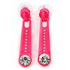 Deep Pink Crystal 'Zipper' Stud Earrings In Silver Tone - 45mm Length