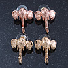 Textured Elephant Stud Earrings In Gold & Rose Tone Metal - 2 Pc Set - 26mm Length