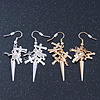 2 pairs Gold and Silver Tone Cross and Spike Dangle Earring Set - 55mm Drop