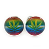 Tiny Marijuana Leaf Rasta Colours Stud Earrings In Silver Tone - 7mm Diameter