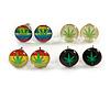 7mm Set of 4 Tiny Marijuana Leaf Rasta Colours Stud Earrings In Silver Tone